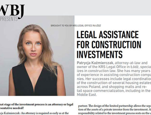WBJ – interview with Patrycja Kaźmierczak – Legal assistance for construction investments